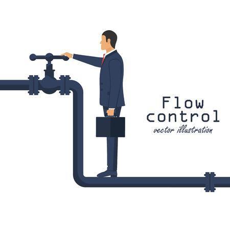 Flow control concept. Businessman opening the valve. Open close oil. Vector illustration in flat design. 向量圖像
