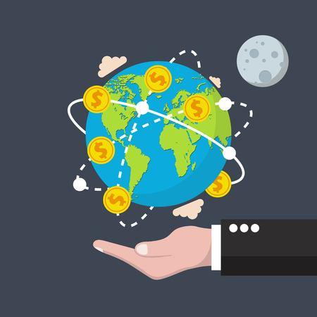 Concetto di economia globale. Illustrazione vettoriale in design piatto.