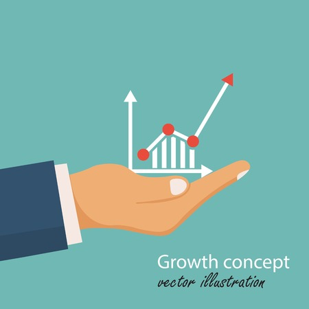 Growth concept. Financial graphics, diagram. Man holds in hand a business chart. Vector illustration in flat design.