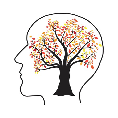 Human head tree vector illustration isolated on white background  イラスト・ベクター素材