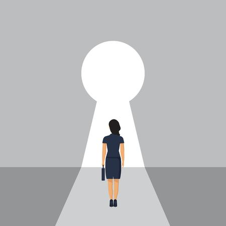 Businesswoman stading in front of keyhole. Looking at open opportunities. Solution to problem. Female walking go to goals. Vector illustration in flat style