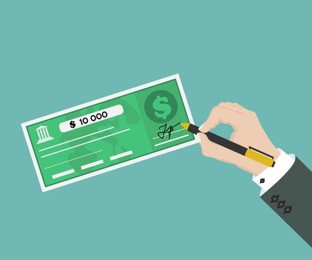 Man hand sigh bank check. Top view of vector illustration in flat design Illustration