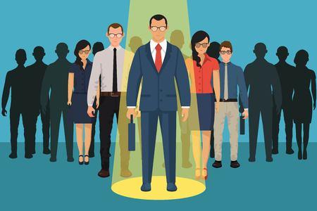 Elección de persona para contratar. Concepto vacante. Recursos humanos y reclutamiento, selección de personas, recursos y reclutamiento. Ilustración de vector de diseño plano. Ilustración de vector