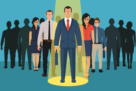 Scelta della persona per l'assunzione. concetto vacante. Umano e reclutamento, seleziona persone, risorse e recluta. Illustrazione vettoriale in design piatto. Vettoriali