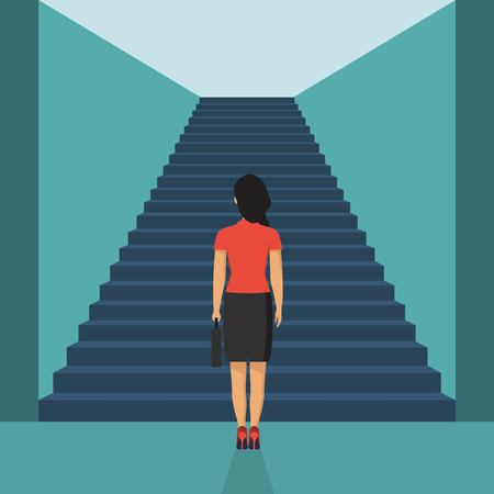 Businesswoman stading in front of stairs. Entrance concept. Creative ideea. Startup. Look into future. Business methaphor. Direction achive goal. Vector illustration in flat style