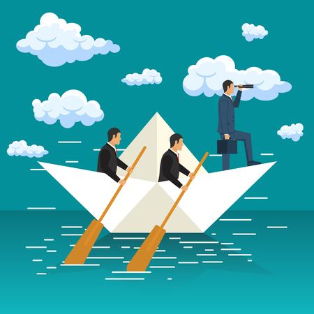 Business leadership and visionary concept. Aspirational business. Concept of vision, mission ambition. Businessman looking with telescope. Vector illustration in flat design Standard-Bild - 122162098