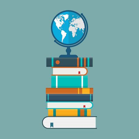 Bookshelf vector illustration in flat design. Books store design. Education concept.
