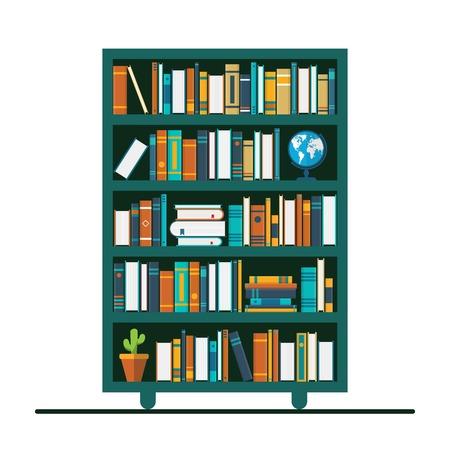Bücherregal-Vektor-Illustration im flachen Design. Gestaltung des Buchladens. Bildungskonzept.