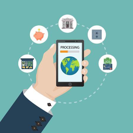 Mobile banking concept. Vector illustration in flat design. Vektoros illusztráció
