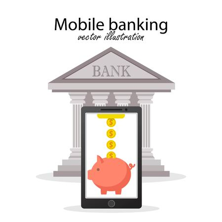 Mobile banking concept. Vector illustration in flat design. Ilustração