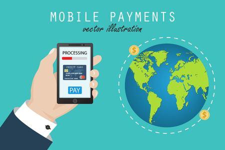 Mobile money transfer. Mobile payment. Vector illustration in flat design.