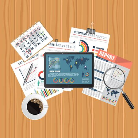 Auditing concept. Realistic design of accounting, research, calculating, management, financial analysis. Top view. Business background with desktop elements. Vektorové ilustrace