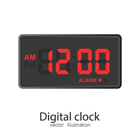 Digital clock vector illustration isolated on white background. 向量圖像