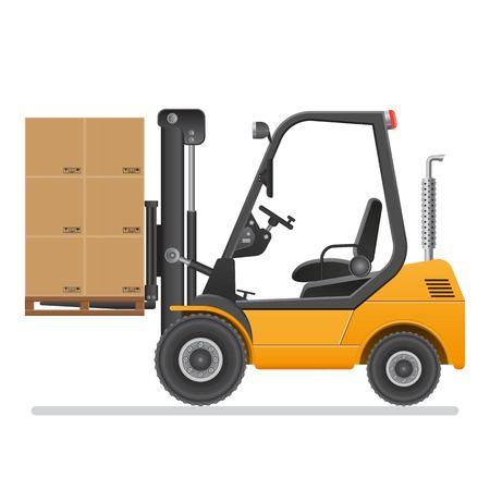 Forklift truck. Vector illustration isolated on white background.