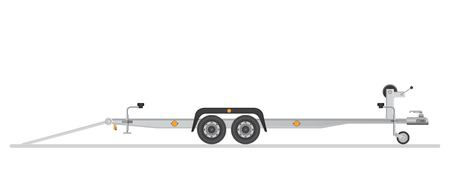 Car trailer for vehicle transportation. Vector illustration isolated on white background. Archivio Fotografico - 122162733