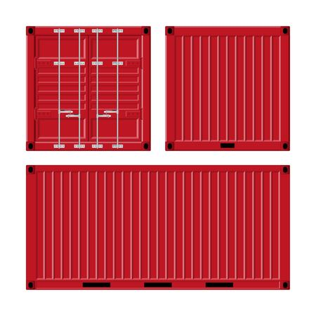 Cargo container vector illustration isolated on white background. Illustration
