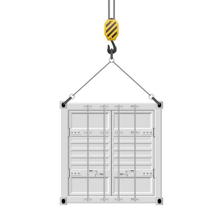 Container hanging on the hook vector illustration isolated on white background. Ilustrace
