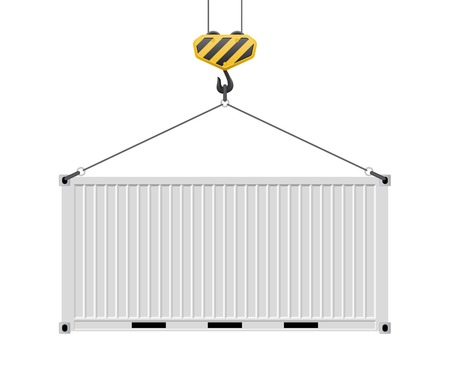 Container hanging on the hook vector illustration isolated on white background. Illustration
