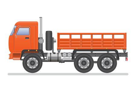 Ciężarówka wektor ilustracja na białym tle. Pojazd transportowy.