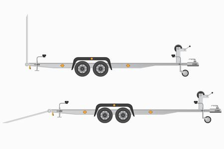 Car trailer for vehicle transportation. Vector illustration isolated on white background.