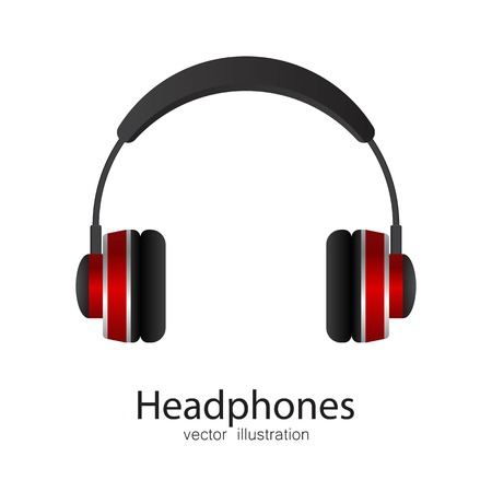 Ilustración de vector de auriculares aislado sobre fondo blanco Ilustración de vector