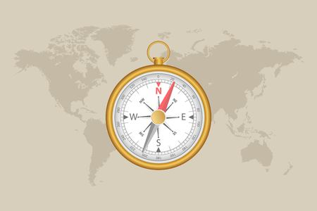 World map and magnetic compass vector illustration.  イラスト・ベクター素材