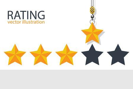 Hook crane holding rating star. Vector illustration. Reklamní fotografie - 122163079