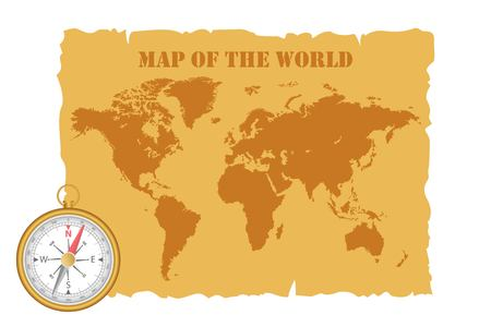 Vintage map of the world and magnetic compass. Vector illustration.