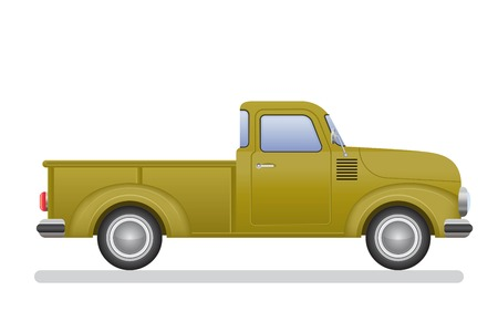 Vintage pickup truck vector illustration isolated on white background Archivio Fotografico - 122163150