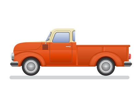 Vintage pickup truck vector illustration isolated on white background Archivio Fotografico - 122163151