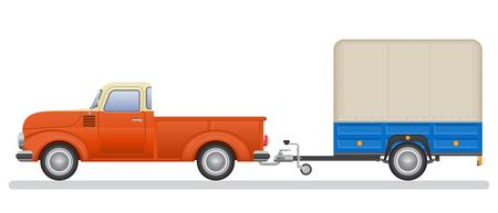 Vintage pickup truck and trail vector illustration isolated on white background.  イラスト・ベクター素材