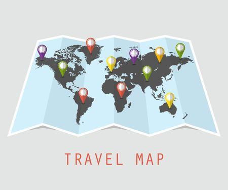 World travel map concept. Vector illustration in flat design.