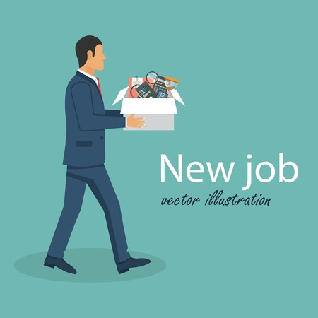 New job concept. Welcome employee. Beginning of business career. Vector illustration in flat design. Иллюстрация