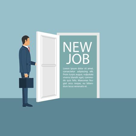 New job concept. Man opens door looking for work. Beginning of business career. Vector illustration in flat design.