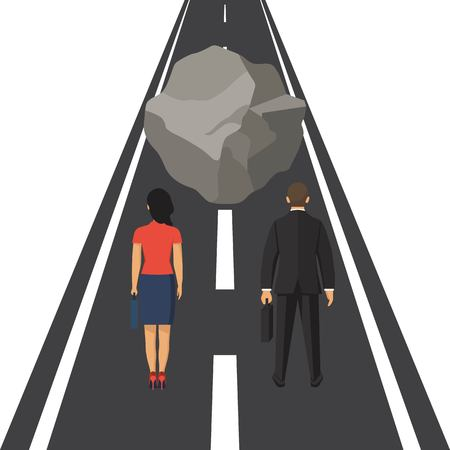 Businessman obstacle concept. Business risk. Hurdl on way. Way to succes. Barrier on way to succes Vector illustration in flat design.