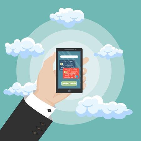 Mobile banking concept, money transaction and mobile paymants. Vector illustration. Flat design. Çizim