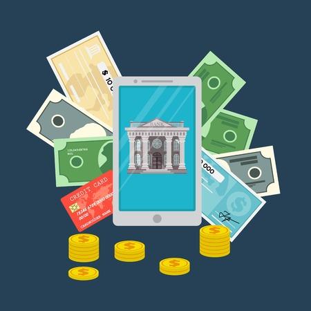 Mobile banking concept, money transaction and mobile paymants. Vector illustration. Flat design. Ilustração
