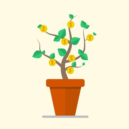 Money plant business concept. Vector illustration in flate design.