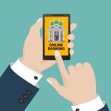 Online banking concept. Vector illustration in flat design.