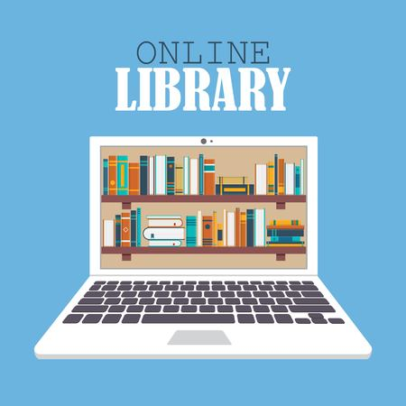 Online library vector illustration in flat design. Education concept.