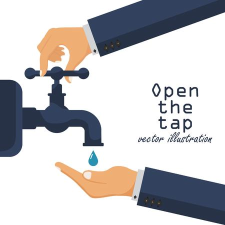 Hand open tap water. Liquid in the palm. Turn on and turn off faucet. Vector illustration in flat design.