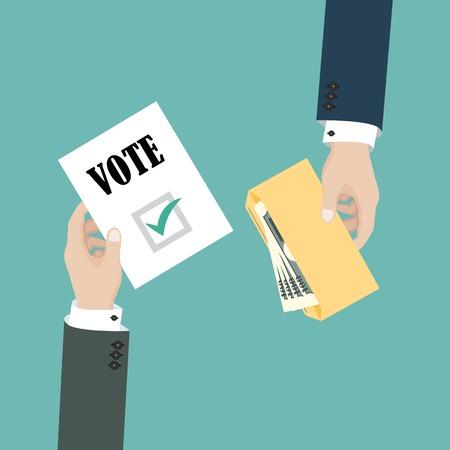 Politische Kandidaten kaufen Stimmen. Bestechung von Wählern bei Wahlen. Geschäftsmann hält Umschlag mit Geld. Vektorillustration im flachen Design