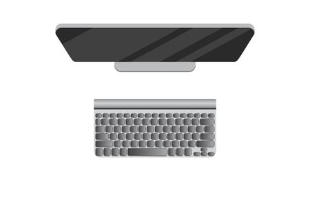 PC top view vector illustration. User hands. Modern computer with mouse and keyboard.