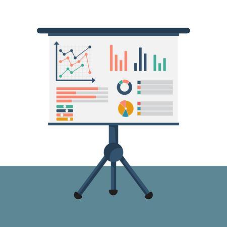 Concept de consultant financier. Amrket graphique de recherche, graphiques, rapports financiers, diagrammes. Processus d'organisation comptable. Illustration vectorielle