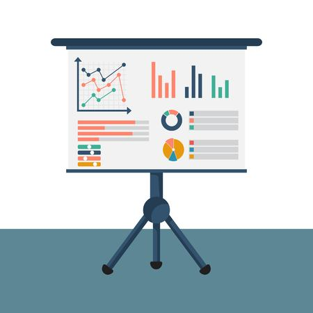 Financial consultant concept. Reasearch graph amrket, charts financial reports, diagrams. Accountant organization process. Vector illustration