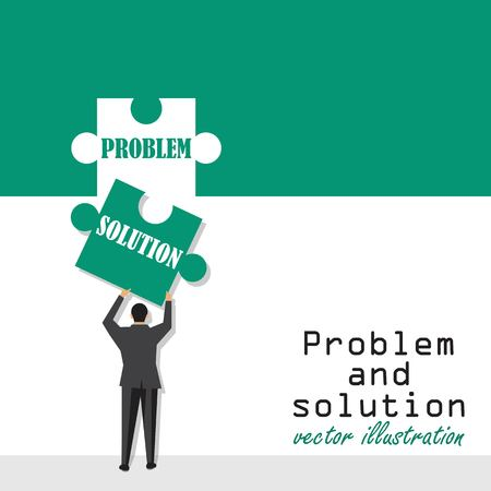 Problem and solution concept. Creative problem solving. Businessman holding in hand piece of jigsaw puzzle. Vector illustration in flat design.