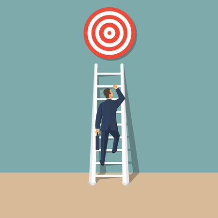 Avhievement of goal. Aspirational people. Challenge achieve aim. Vector illustration in flat style.