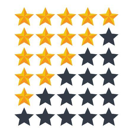 Five rating stars vector illustration. Feedback concept. Man holding a gold star in hand Ilustração