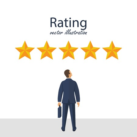Five rating stars vector illustration. Feedback concept. Businessman looks gold star, to give five. Vector illustration in flat style. Reklamní fotografie - 122163604