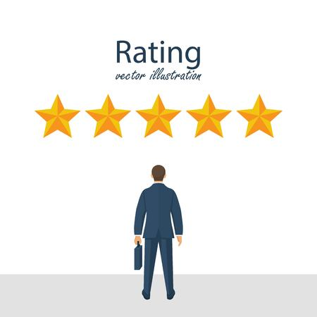 Five rating stars vector illustration. Feedback concept. Businessman looks gold star, to give five. Vector illustration in flat style. Reklamní fotografie - 122163605
